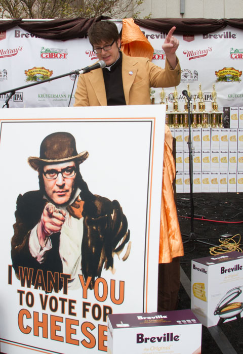 Rico Gagliano, Minister of Cheese, blesses the cheese at the Last Grilled Cheese Invitational at the Los Angeles Center Studios on Saturday April 12, 2014.