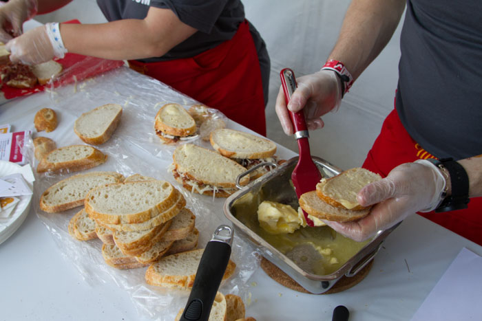 'California Meltin'' sandwich being prepared at the Last Grilled Cheese Invitational at the Los Angeles Center Studios on Saturday April 12, 2014.