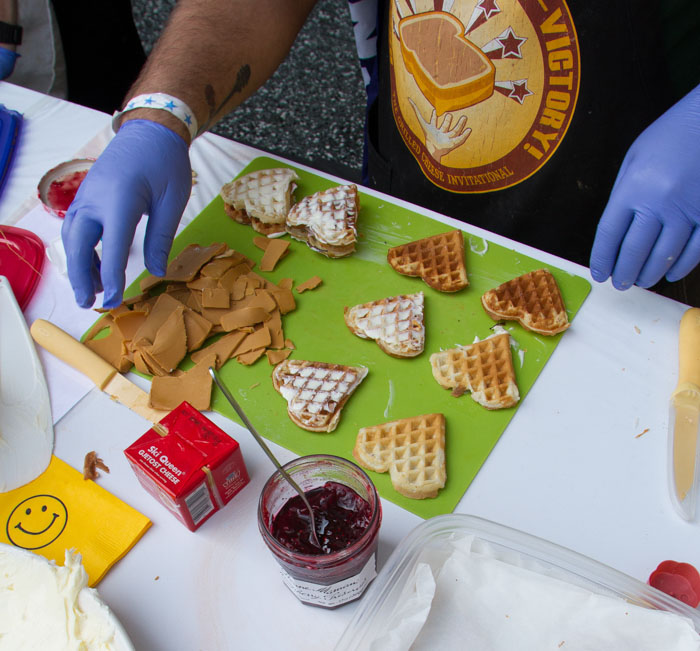 The 'Papa Morton' sandwich being prepared at the Last Grilled Cheese Invitational at the Los Angeles Center Studios on Saturday April 12, 2014.