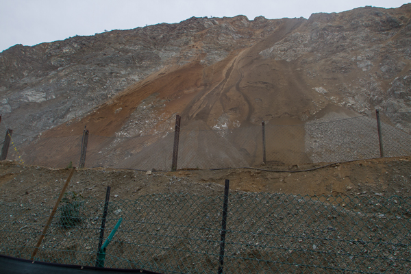 Gravel and rocks are pushed down the side of the mountain next to the new trail up Fish Canyon.