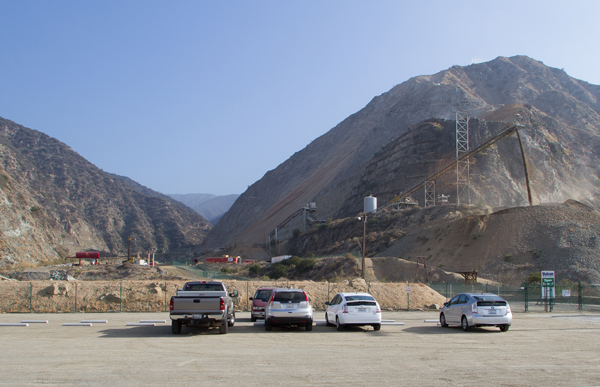 The newly opened parking lot at the base of Fish Canyon, which cuts through the mining operations to reach the canyon.